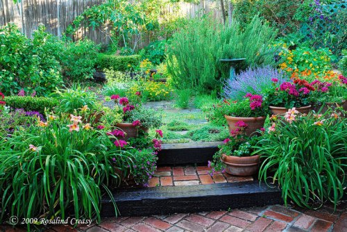 Rosalind Creasy's Backyard Herb Garden